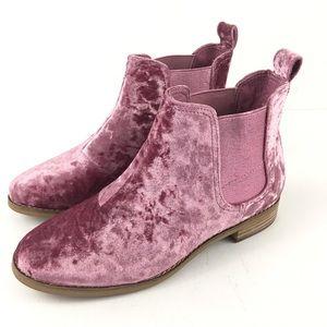 Toms Ella Chelsea Pink Velvet Booties New Sz 6